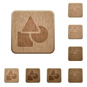 Basic geometric shapes on rounded square carved wooden button styles - Basic geometric shapes wooden buttons