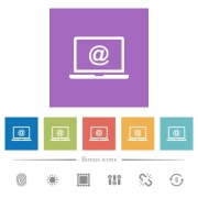 Laptop with email symbol flat white icons in square backgrounds. 6 bonus icons included.