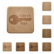 1024 bit rsa encryption on rounded square carved wooden button styles - 1024 bit rsa encryption wooden buttons