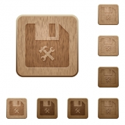 File tools on rounded square carved wooden button styles - File tools wooden buttons