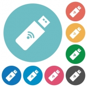 Wireless usb stick flat white icons on round color backgrounds - Wireless usb stick flat round icons