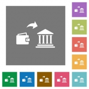 Money deposit to bank flat icons on simple color square backgrounds