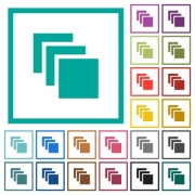 Multiple canvases flat color icons with quadrant frames on white background - Multiple canvases flat color icons with quadrant frames