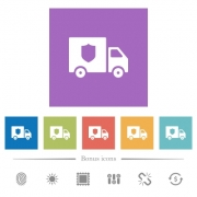 Money deliverer truck flat white icons in square backgrounds. 6 bonus icons included. - Money deliverer truck flat white icons in square backgrounds
