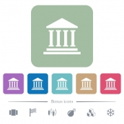Bank office building white flat icons on color rounded square backgrounds. 6 bonus icons included - Bank office building flat icons on color rounded square backgrounds