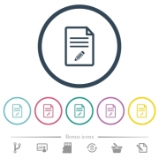 Edit document flat color icons in round outlines. 6 bonus icons included. - Edit document flat color icons in round outlines