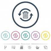 Undelete flat color icons in round outlines. 6 bonus icons included. - Undelete flat color icons in round outlines