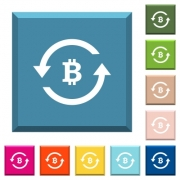 Bitcoin pay back white icons on edged square buttons in various trendy colors - Bitcoin pay back white icons on edged square buttons