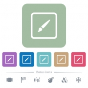 Paint object white flat icons on color rounded square backgrounds. 6 bonus icons included - Paint object flat icons on color rounded square backgrounds