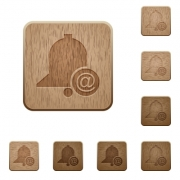 Email reminder on rounded square carved wooden button styles - Email reminder wooden buttons