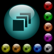 Multiple canvases icons in color illuminated spherical glass buttons on black background. Can be used to black or dark templates - Multiple canvases icons in color illuminated glass buttons