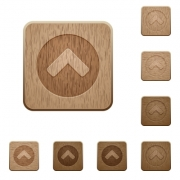 Chevron up on rounded square carved wooden button styles - Chevron up wooden buttons