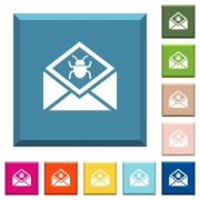 Open mail with malware symbol white icons on edged square buttons in various trendy colors - Open mail with malware symbol white icons on edged square buttons