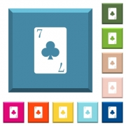 Seven of clubs card white icons on edged square buttons in various trendy colors - Seven of clubs card white icons on edged square buttons