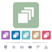 Multiple canvases white flat icons on color rounded square backgrounds. 6 bonus icons included - Multiple canvases flat icons on color rounded square backgrounds