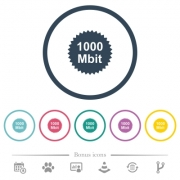 1000 mbit guarantee sticker flat color icons in round outlines. 6 bonus icons included. - 1000 mbit guarantee sticker flat color icons in round outlines
