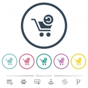 Undo last cart operation flat color icons in round outlines. 6 bonus icons included. - Undo last cart operation flat color icons in round outlines