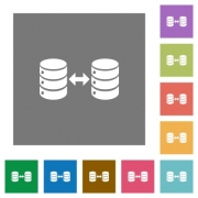Syncronize databases flat icons on simple color square backgrounds - Syncronize databases square flat icons
