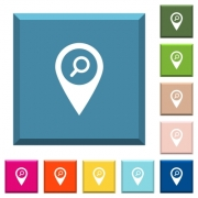 Find GPS map location white icons on edged square buttons in various trendy colors - Find GPS map location white icons on edged square buttons