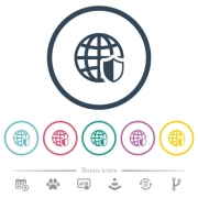 Internet security flat color icons in round outlines. 6 bonus icons included. - Internet security flat color icons in round outlines