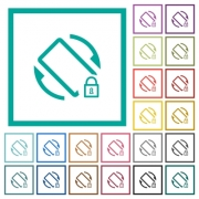 Mobile screen rotation locked flat color icons with quadrant frames on white background - Mobile screen rotation locked flat color icons with quadrant frames