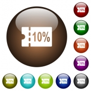 10 percent discount coupon white icons on round color glass buttons - 10 percent discount coupon color glass buttons
