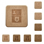 Police id and badge on rounded square carved wooden button styles - Police id and badge wooden buttons
