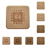 Microprocessor 64 bit architecture on rounded square carved wooden button styles - Microprocessor 64 bit architecture wooden buttons