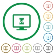 Busy computer flat color icons in round outlines on white background - Busy computer flat icons with outlines