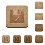 Uncompress file on rounded square carved wooden button styles - Uncompress file wooden buttons