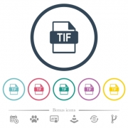 TIF file format flat color icons in round outlines. 6 bonus icons included. - TIF file format flat color icons in round outlines