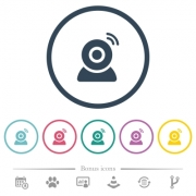 Wireless camera flat color icons in round outlines. 6 bonus icons included. - Wireless camera flat color icons in round outlines