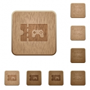 Toy store discount coupon on rounded square carved wooden button styles