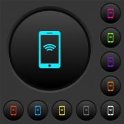 Cellphone with wireless network symbol dark push buttons with vivid color icons on dark grey background - Cellphone with wireless network symbol dark push buttons with color icons