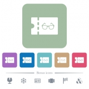 Optician shop discount coupon white flat icons on color rounded square backgrounds. 6 bonus icons included - Optician shop discount coupon flat icons on color rounded square backgrounds