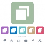 Overlapping elements white flat icons on color rounded square backgrounds. 6 bonus icons included - Overlapping elements flat icons on color rounded square backgrounds