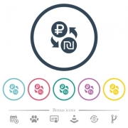 Ruble Shekel money exchange flat color icons in round outlines. 6 bonus icons included. - Ruble Shekel money exchange flat color icons in round outlines