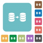 Database mirroring white flat icons on color rounded square backgrounds - Database mirroring rounded square flat icons