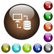 Syncronize data with database white icons on round color glass buttons - Syncronize data with database color glass buttons