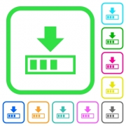 Download in progress vivid colored flat icons in curved borders on white background - Download in progress vivid colored flat icons