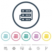 Connected servers flat color icons in round outlines. 6 bonus icons included. - Connected servers flat color icons in round outlines