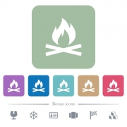 Camp fire white flat icons on color rounded square backgrounds. 6 bonus icons included - Camp fire flat icons on color rounded square backgrounds