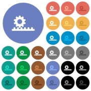 Cogwheel with rack pinion multi colored flat icons on round backgrounds. Included white, light and dark icon variations for hover and active status effects, and bonus shades. - Cogwheel with rack pinion round flat multi colored icons