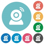 Wireless camera flat white icons on round color backgrounds - Wireless camera flat round icons