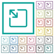 Resize object flat color icons with quadrant frames on white background - Resize object flat color icons with quadrant frames