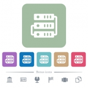 Connected servers white flat icons on color rounded square backgrounds. 6 bonus icons included - Connected servers flat icons on color rounded square backgrounds