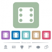 Domino six white flat icons on color rounded square backgrounds. 6 bonus icons included - Domino six flat icons on color rounded square backgrounds