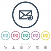 Undelete mail flat color icons in round outlines. 6 bonus icons included. - Undelete mail flat color icons in round outlines