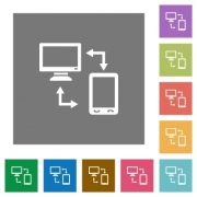 Connecting mobile to desktop flat icons on simple color square backgrounds - Connecting mobile to desktop square flat icons