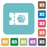 Basketball discount coupon white flat icons on color rounded square backgrounds - Basketball discount coupon rounded square flat icons
